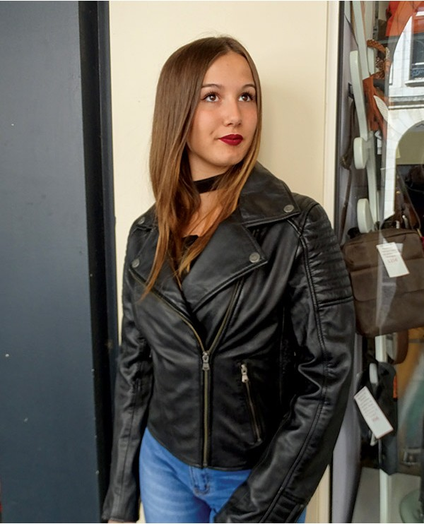 Blouson style perfecto cuir SERENA noir