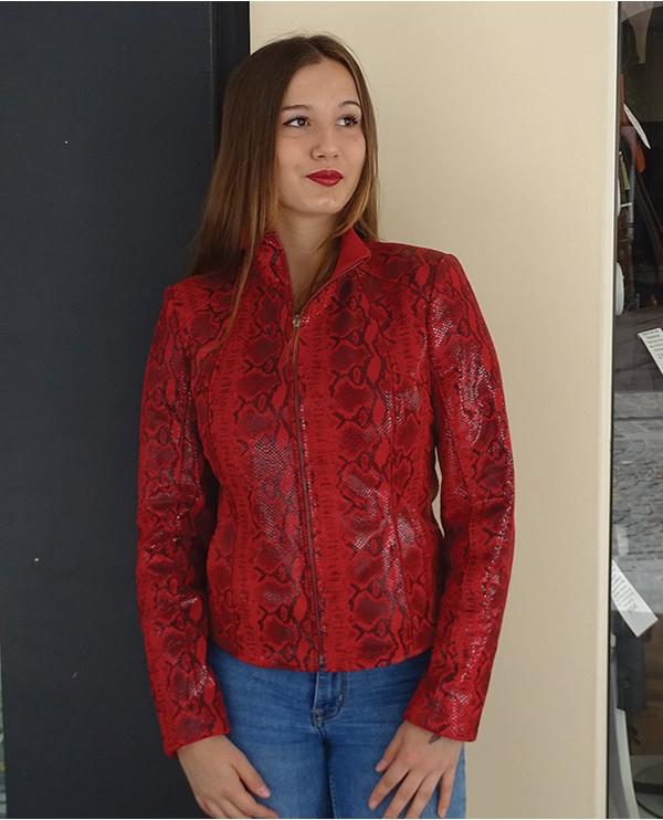 Veste velours imprimé serpent rouge femme