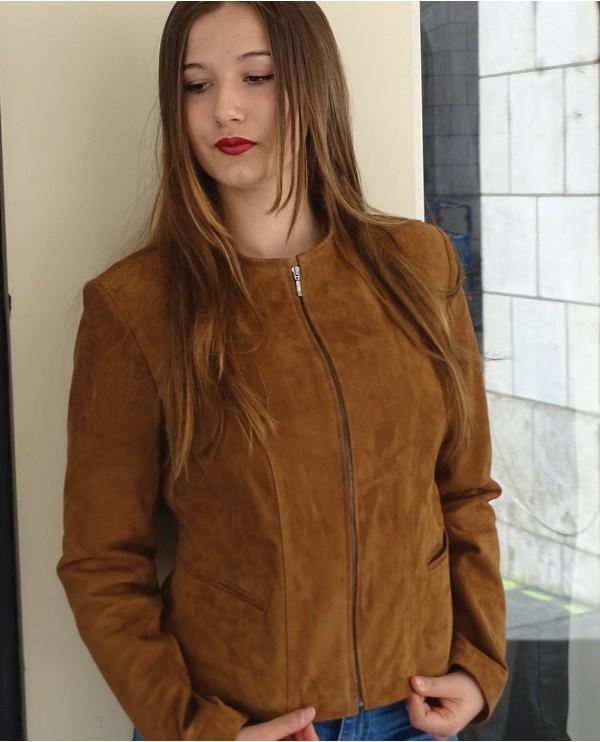 Veste courte velours femme marron LOULA