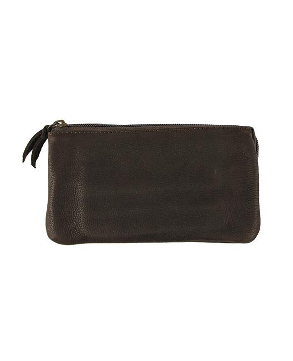 Porte monnaie et cartes en cuir de vachette MARRON FONCE