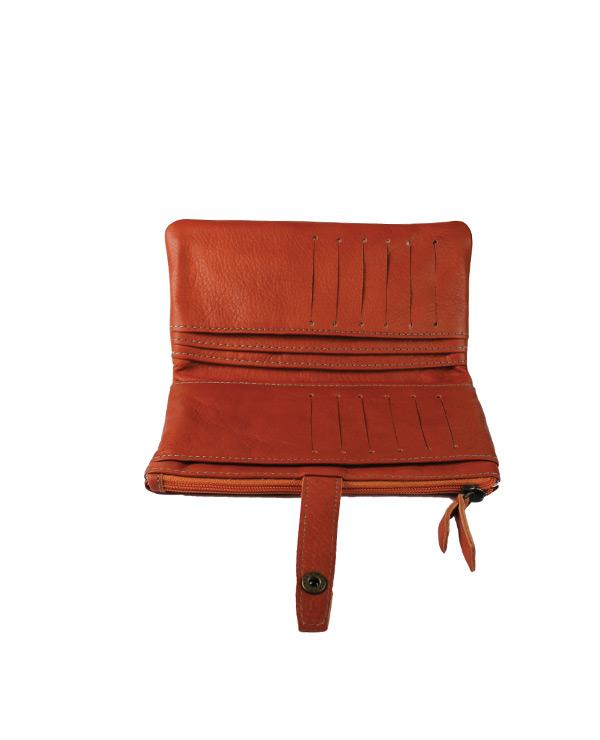 Portefeuille femme cuir artisanal ORANGE