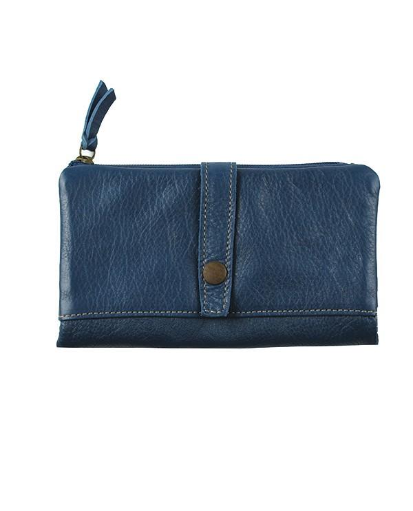 Portefeuille femme cuir artisanal BLEU