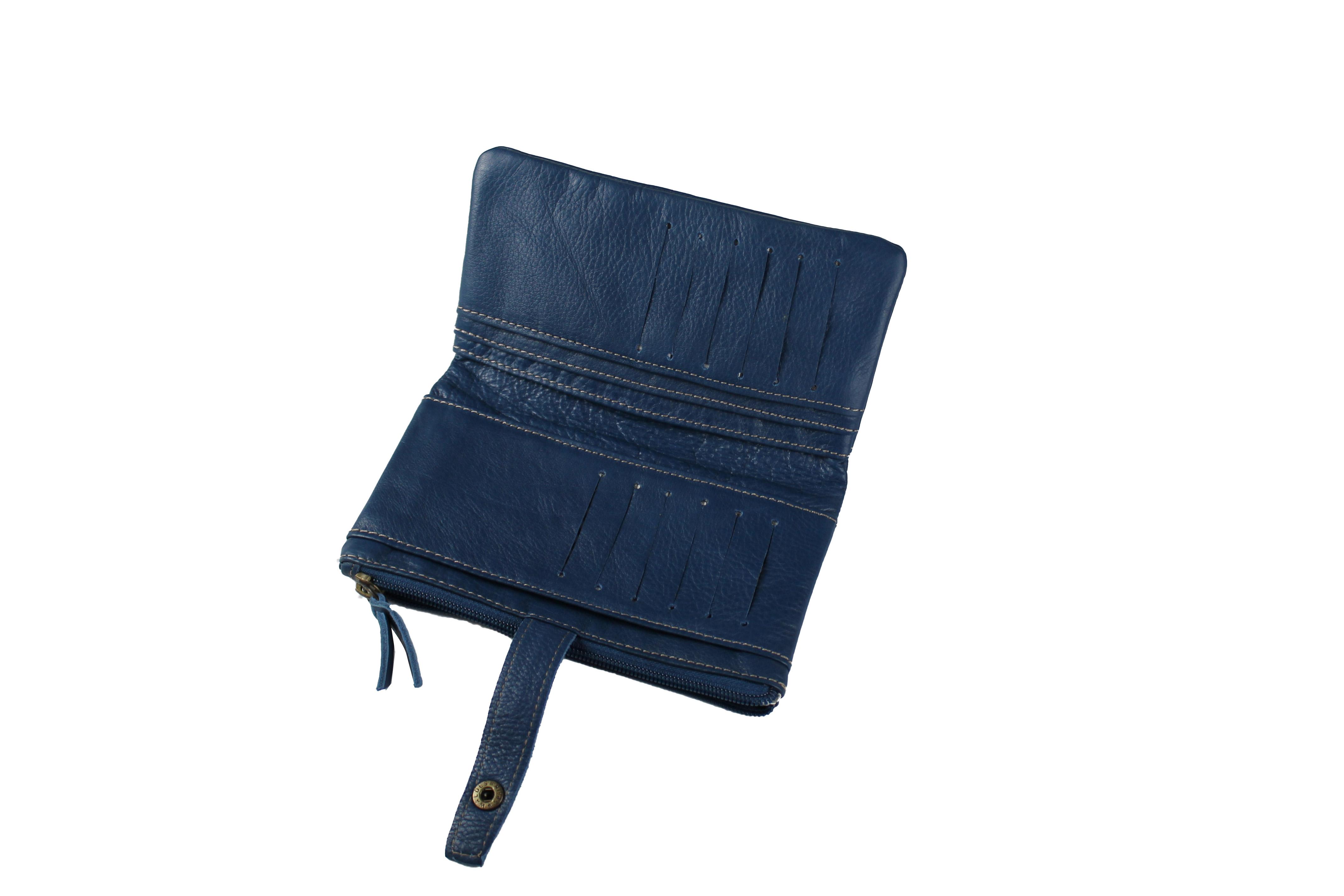 Portefeuille femme cuir vachette artisanal BLEU