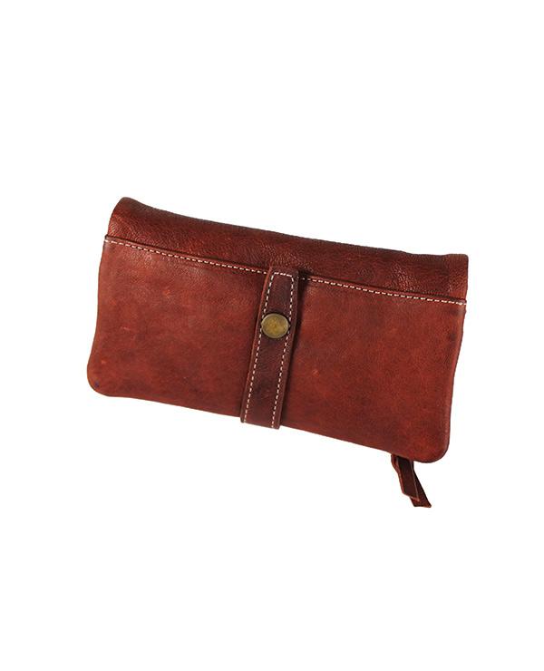 Portefeuille femme cuir vachette artisanal BRIQUE.