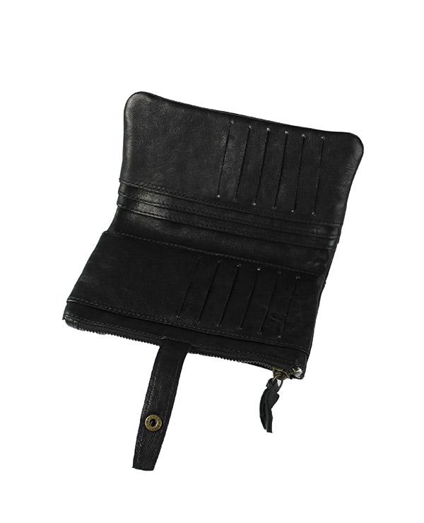 Portefeuille femme cuir vachette artisanal NOIR