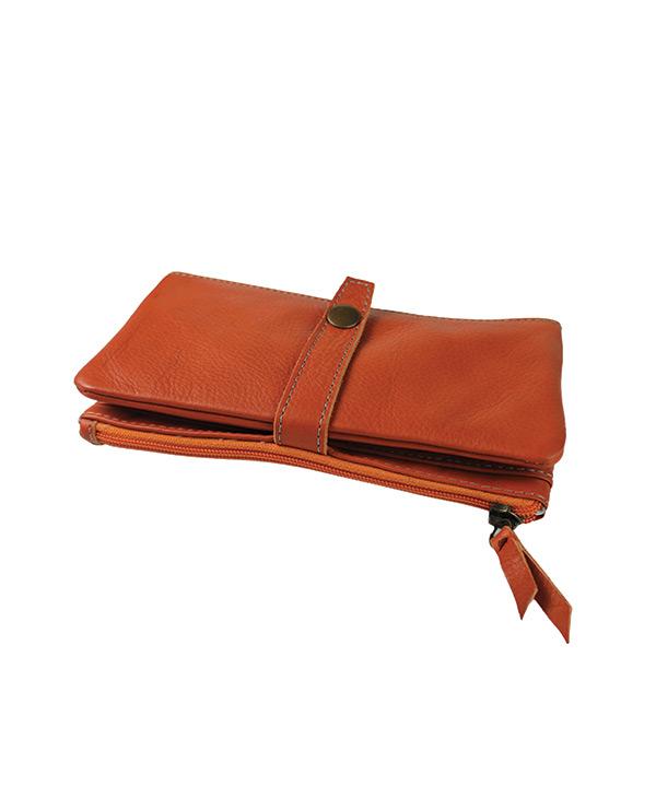 Portefeuille femme cuir vachette artisanal ORANGE