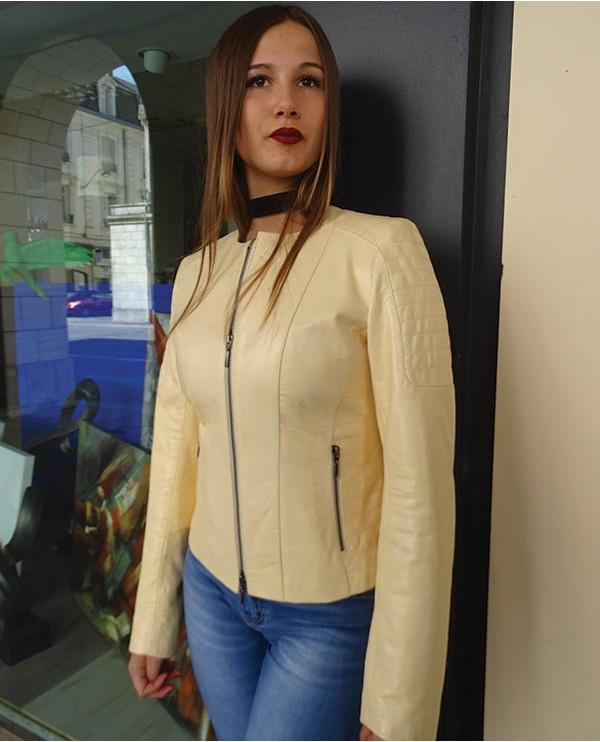 Veste en cuir agneau femme ivoire DAYANA
