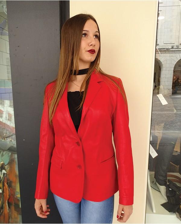 Veste en cuir d'agneau femme FIONA rouge