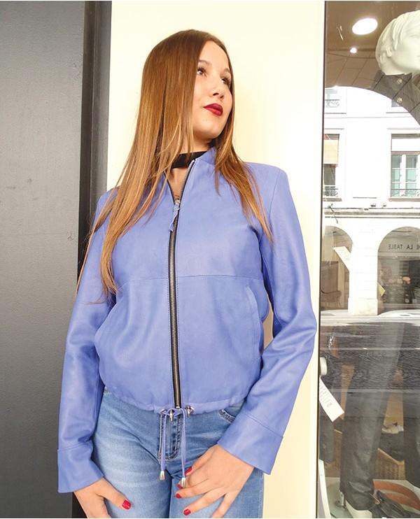 Veste en cuir d'agneau femme LAVANERAS bleu