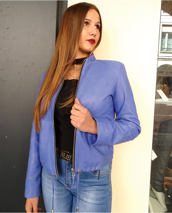 Veste cuir agneau femme LAVANERAS bleu