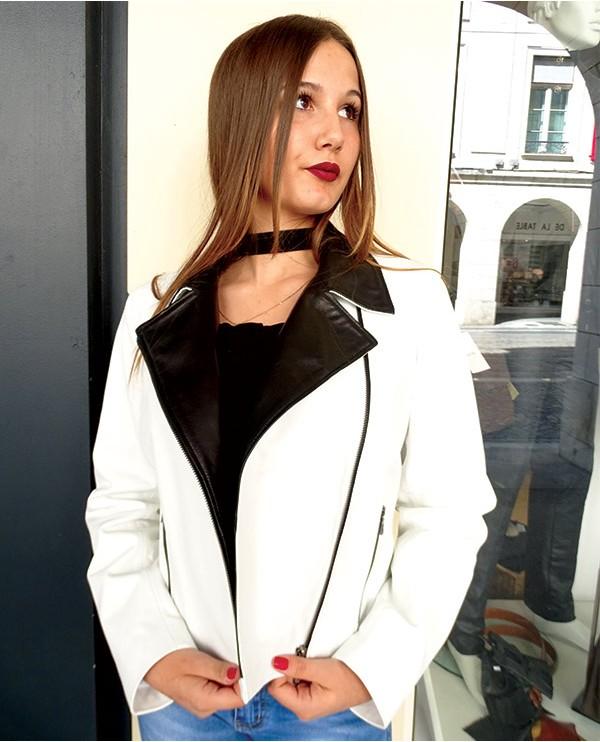Veste en cuir d'agneau femme PERSI blanc