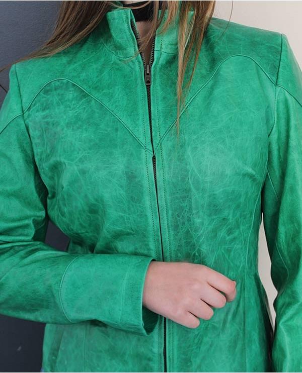 Blouson en cuir agneau femme AFRIKA vert