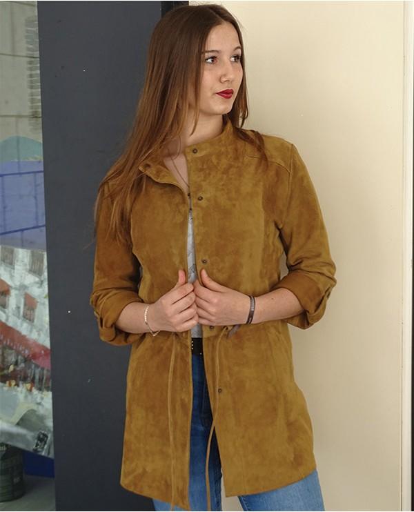 Veste en cuir agneau velours femme PUPA