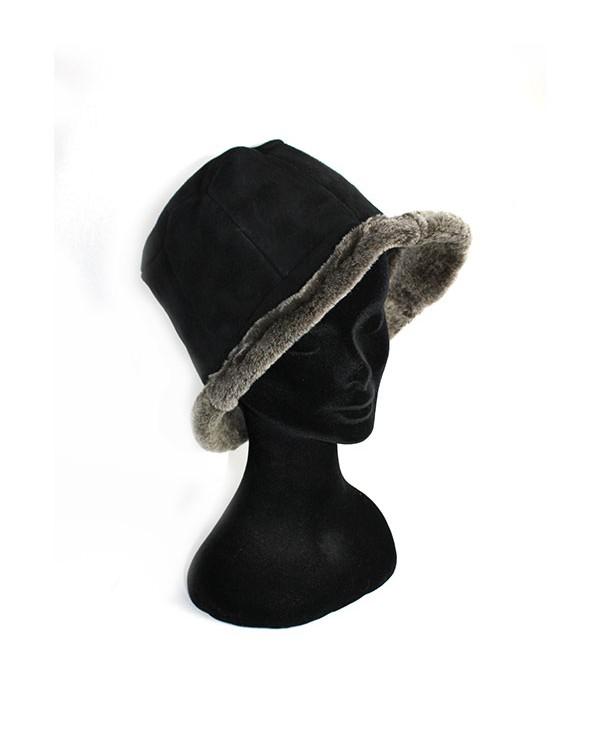 Iphigenie-Paris | Chapeau cloche en peau lainée velours mérinos pour femme