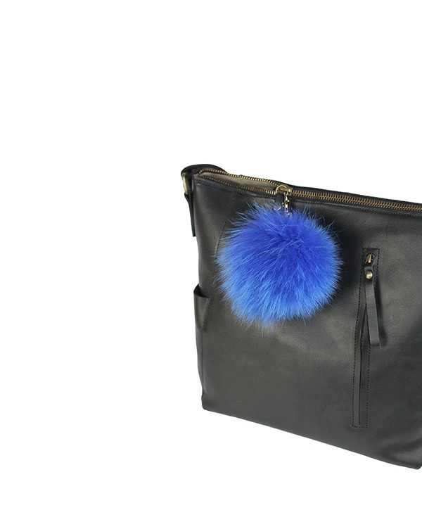 Iphigenie-Paris | Pompon bijou de sac à main couleur bleu électrique