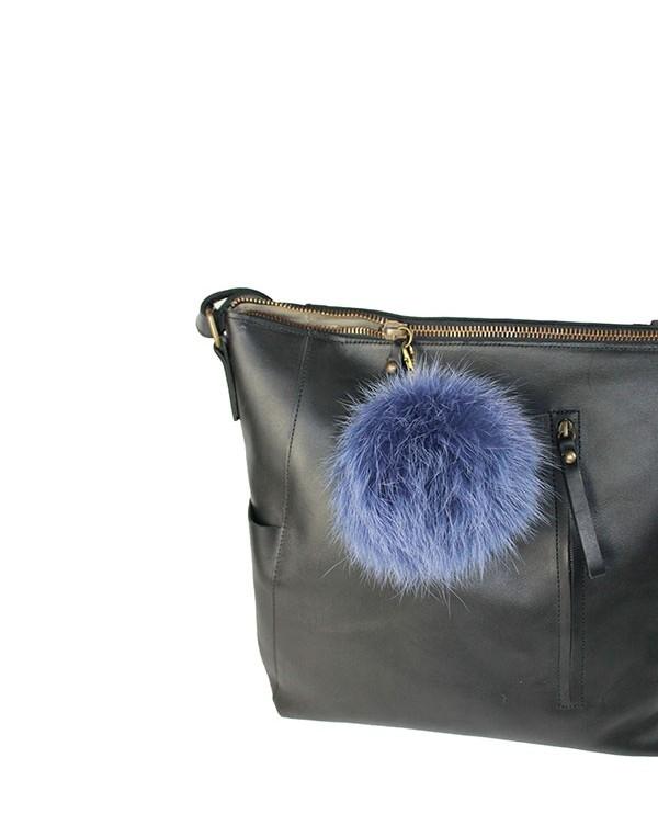 Iphigenie-Paris | Pompon bijou de sac à main couleur bleu foncé