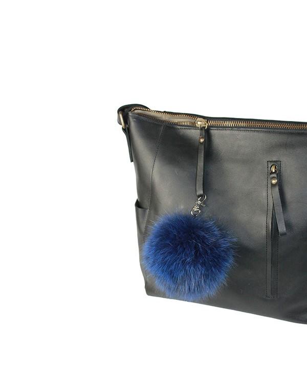 Iphigenie-Paris | Pompon bijou de sac à main couleur bleu indigo