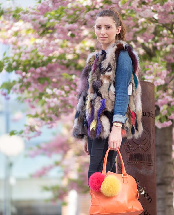 Gilet femme en fourrure multicolore